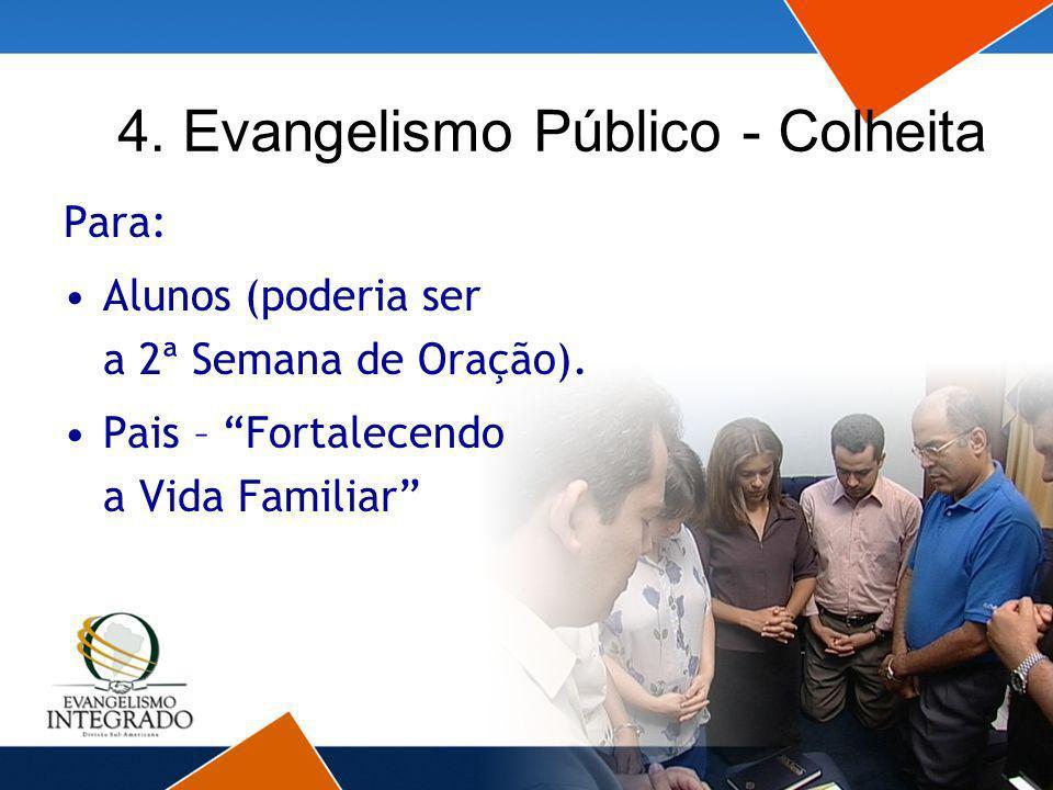 4. Evangelismo Público - Colheita Para: Alunos (poderia ser a 2ª Semana de Oração). Pais – Fortalecendo a Vida Familiar