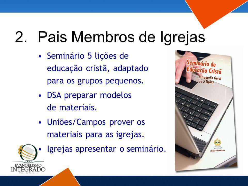 Seminário 5 lições de educação cristã, adaptado para os grupos pequenos. DSA preparar modelos de materiais. Uniões/Campos prover os materiais para as