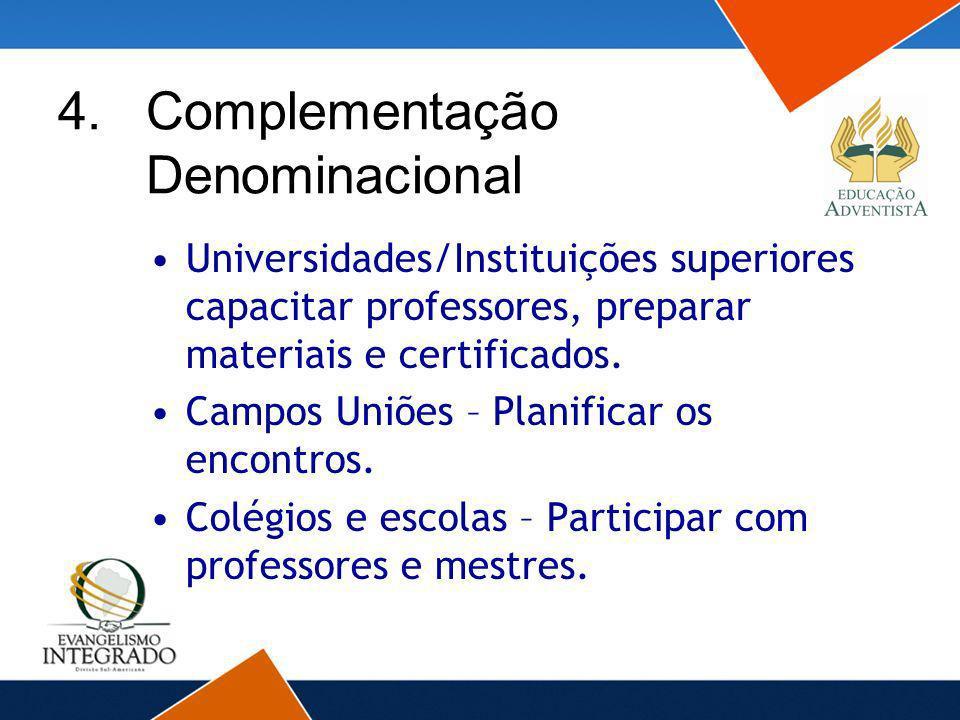 Universidades/Instituições superiores capacitar professores, preparar materiais e certificados. Campos Uniões – Planificar os encontros. Colégios e es