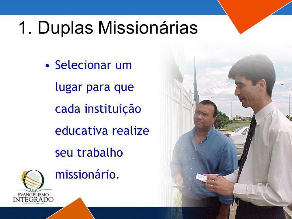 1. Duplas Missionárias Selecionar um lugar para que cada instituição educativa realize seu trabalho missionário.