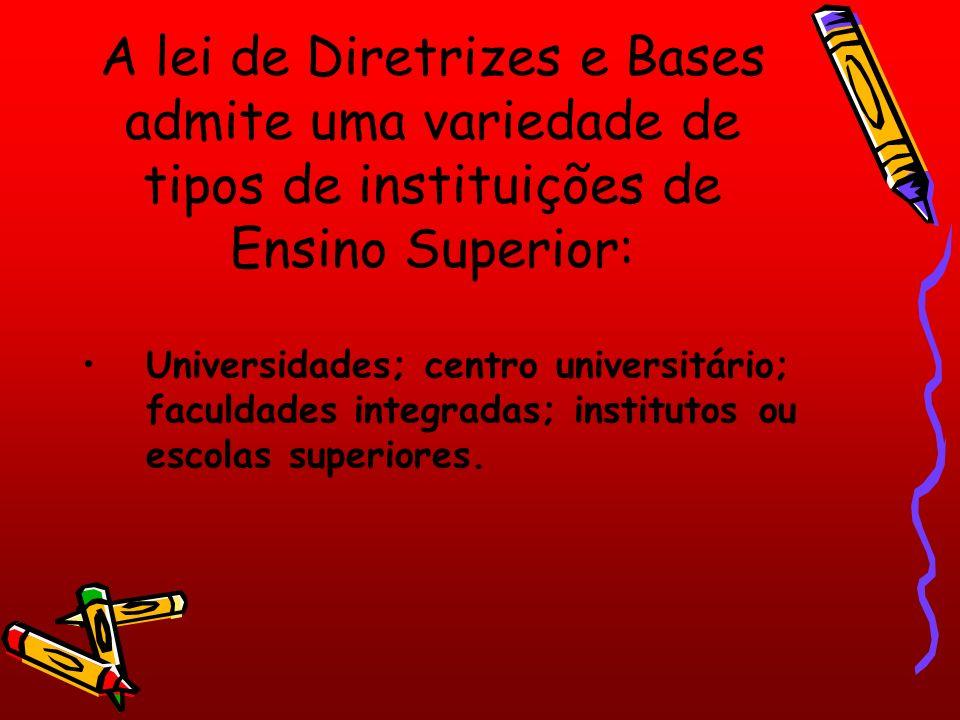 A lei de Diretrizes e Bases admite uma variedade de tipos de instituições de Ensino Superior: Universidades; centro universitário; faculdades integradas; institutos ou escolas superiores.