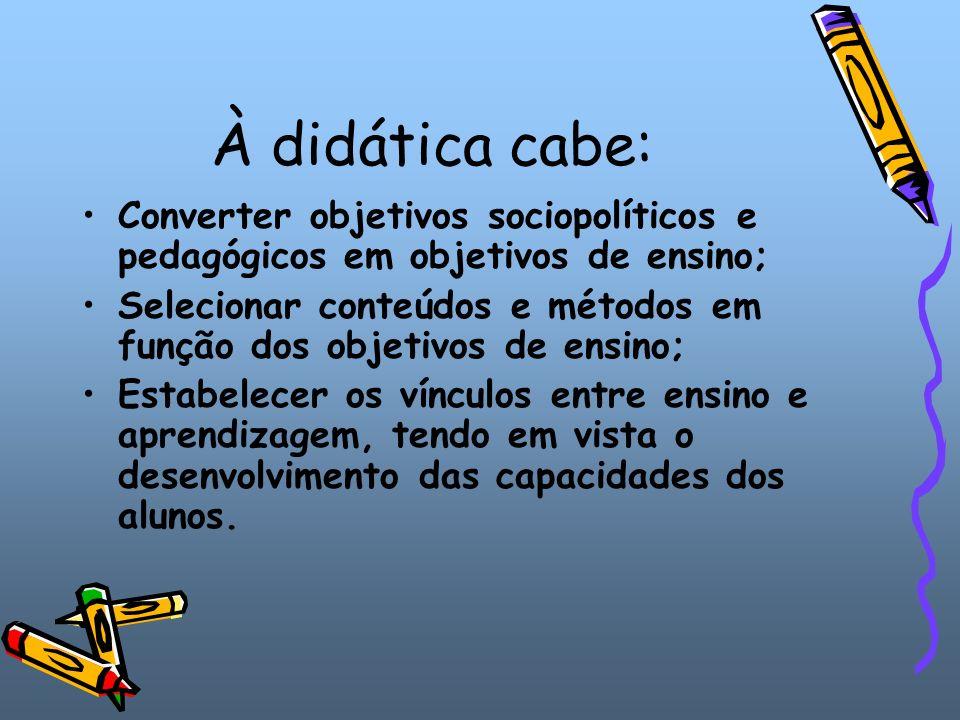 A didática se divide em: Didática geral – estuda os princípios, as normas e as técnicas que devem regular qualquer tipo de ensino, para qualquer tipo de aluno.