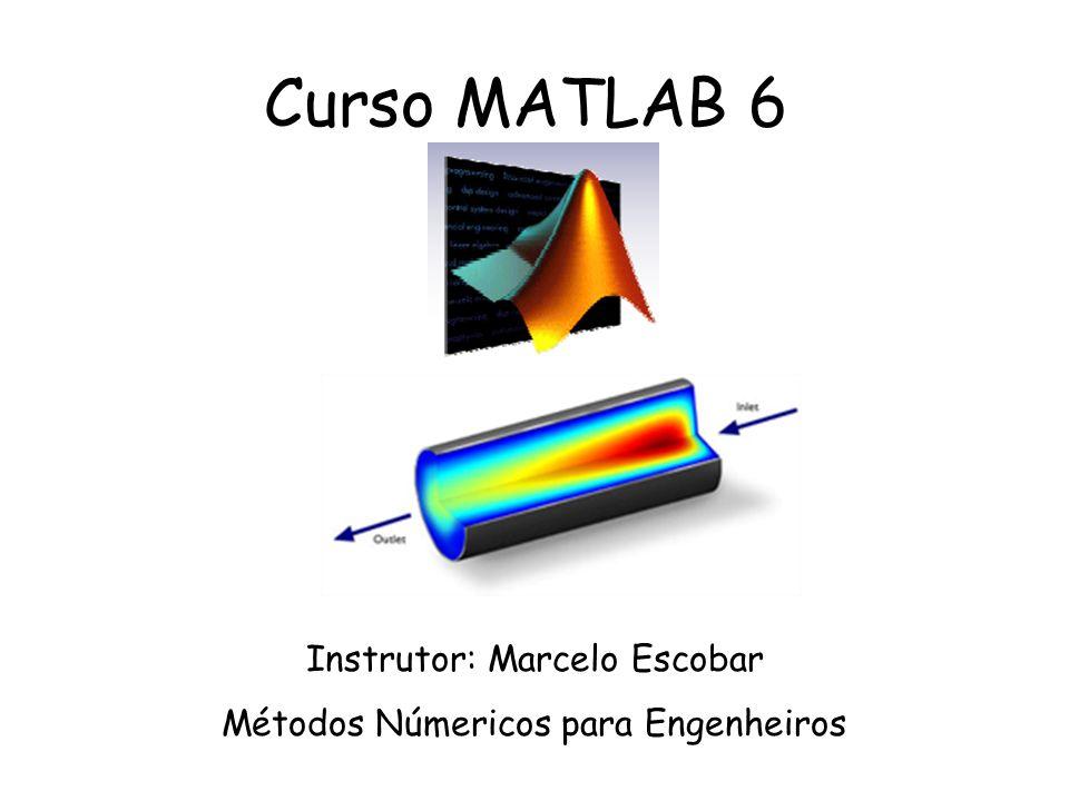 Dicas –Sistemas Lineares: Sistemas Sub-Determinados: Numero de Equações (ne) menor que o numero de incógnitas(ni) >>A\b assume (ni-ne) variáveis nulas Sistemas Sobre-Determinados: Numero de Equações (ne) Maior que o numero de incógnitas(ni) >>A\b utiliza mínimos quadrados para minimizar os resíduos Residuo=(A*x-b) Conceito de Norma: >>help norm A norma é utilizada como critério de parada em loops multivariaveis.