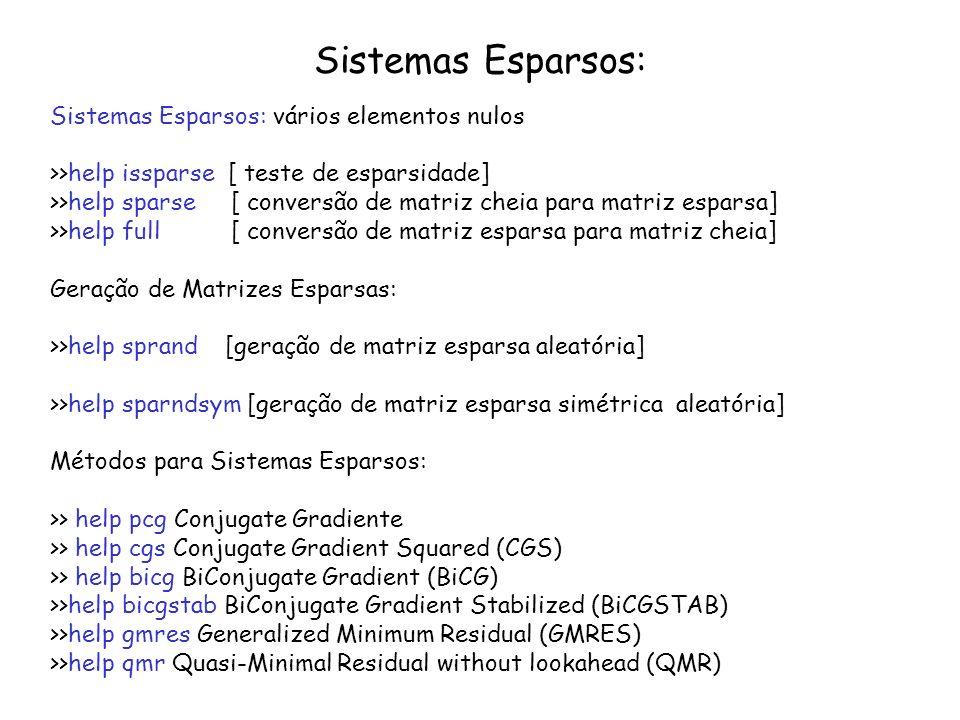 Sistemas Esparsos: Sistemas Esparsos: vários elementos nulos >>help issparse [ teste de esparsidade] >>help sparse [ conversão de matriz cheia para ma