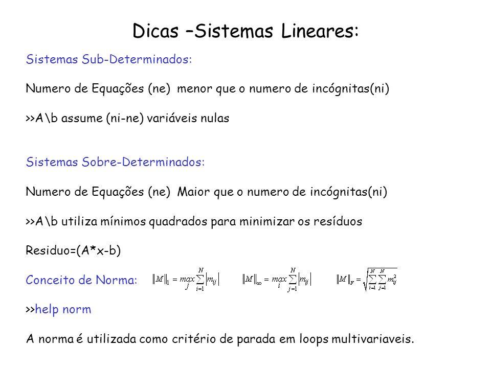 Dicas –Sistemas Lineares: Sistemas Sub-Determinados: Numero de Equações (ne) menor que o numero de incógnitas(ni) >>A\b assume (ni-ne) variáveis nulas