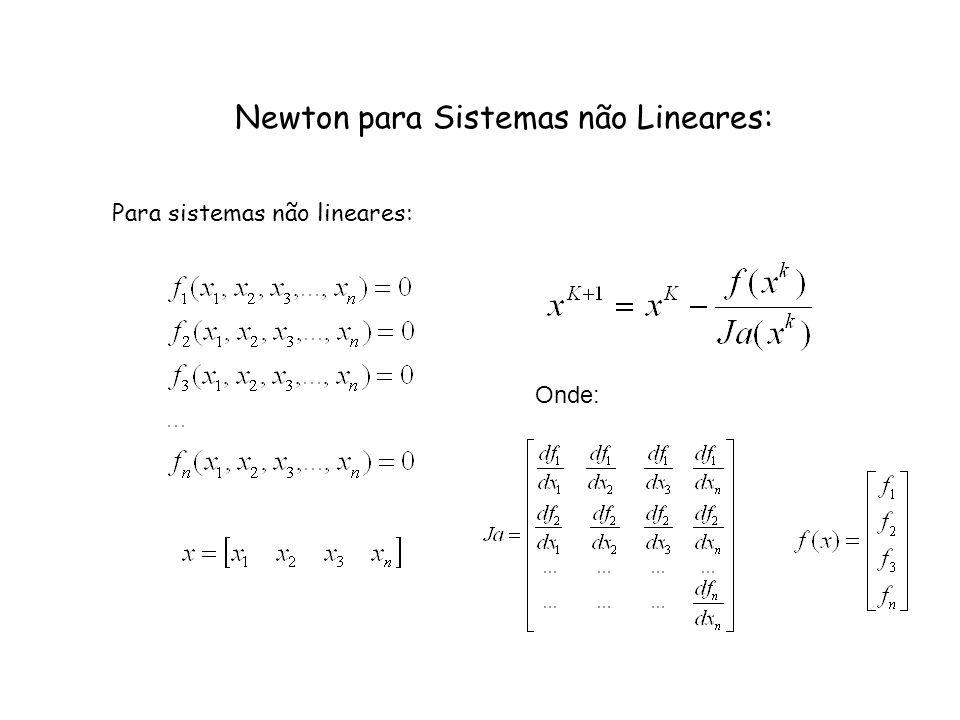 Newton para Sistemas não Lineares: Para sistemas não lineares: Onde:
