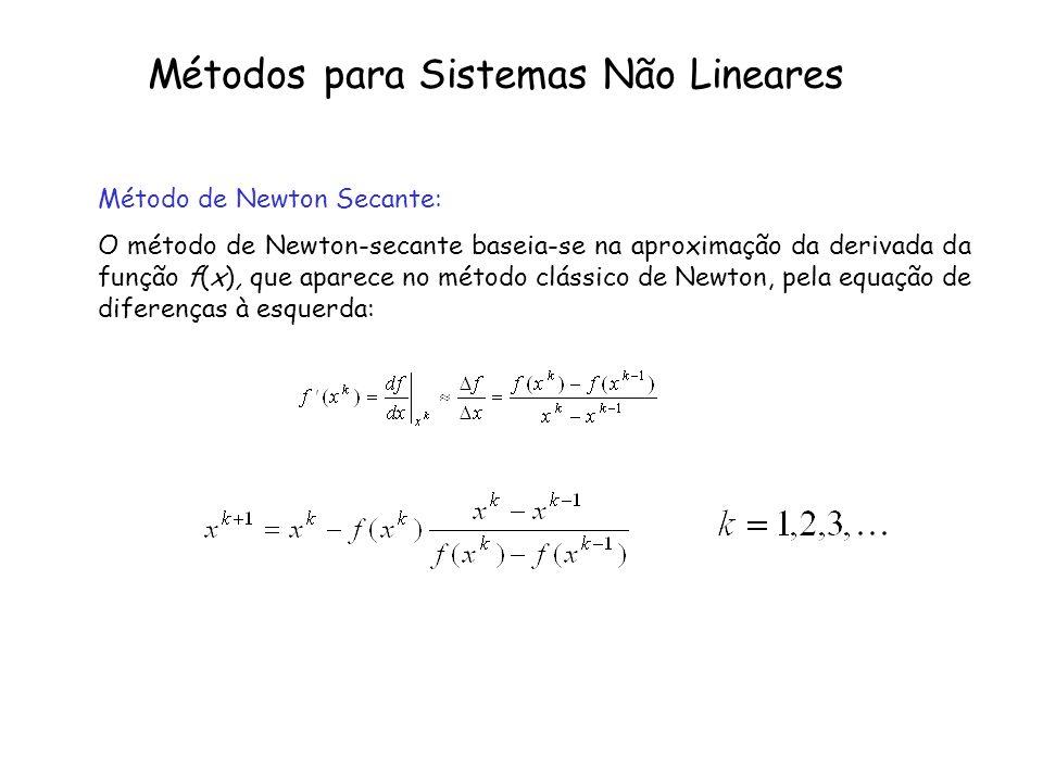 Métodos para Sistemas Não Lineares Método de Newton Secante: O método de Newton-secante baseia-se na aproximação da derivada da função f(x), que apare