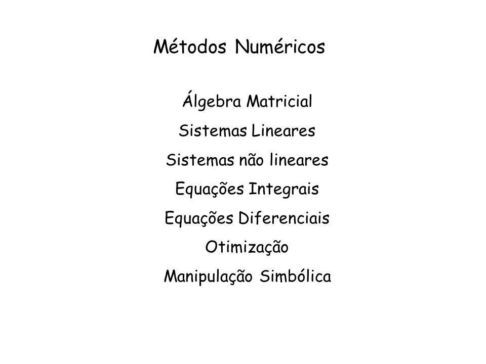 Equações Diferenciais : Aproximação com Δx pequeno: >>help diff Utilizando os métodos integrais: >>help ode 23 [baixa ordem] >>help ode23s [baixa ordem rígido] >>help ode15s [ordem moderada rígido] >>help ode 45 [ alta ordem] >>help ode45s [alta ordem rígido] >>help odeset [ set de propriedades dos métodos]