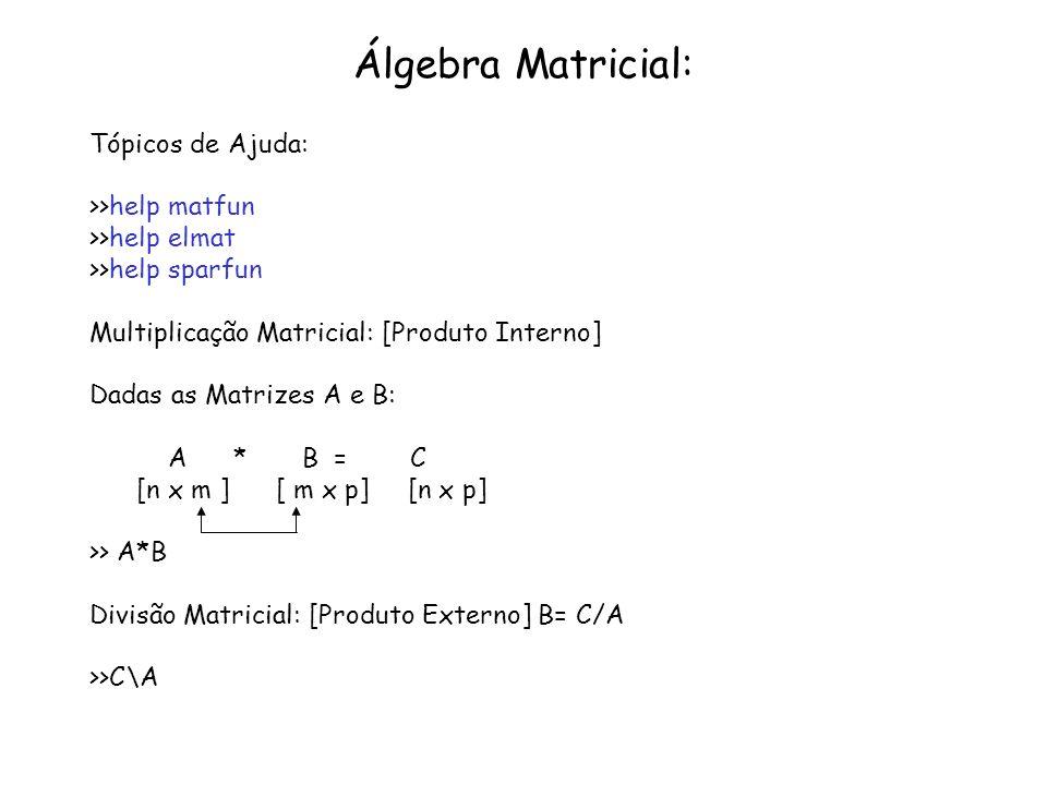 Conceitos Importantes: Matriz Transposta: B=A T se b(j,i)=A(i,j) Matriz Identidade: I(i,j)=1 se i==j e I(i,j)=0 se i~=j Matriz Inversa: se B*A=I, B é a inversa da matriz A Matriz Singular: se det(A)=0, A é singular Matriz Simétrica: se A= A T Diagonal Principal da Matriz : A(i,i) para i=1:n Matriz Triangular Superior: A(i,j)=0 se i>j Matriz Triangular Inferior: A(i,j)=0 se i<j Ortogonalidade de Vetores: se a*b=0 a[ 1 x n] e b[ 1 x n] a e b são ditos ortogonais.