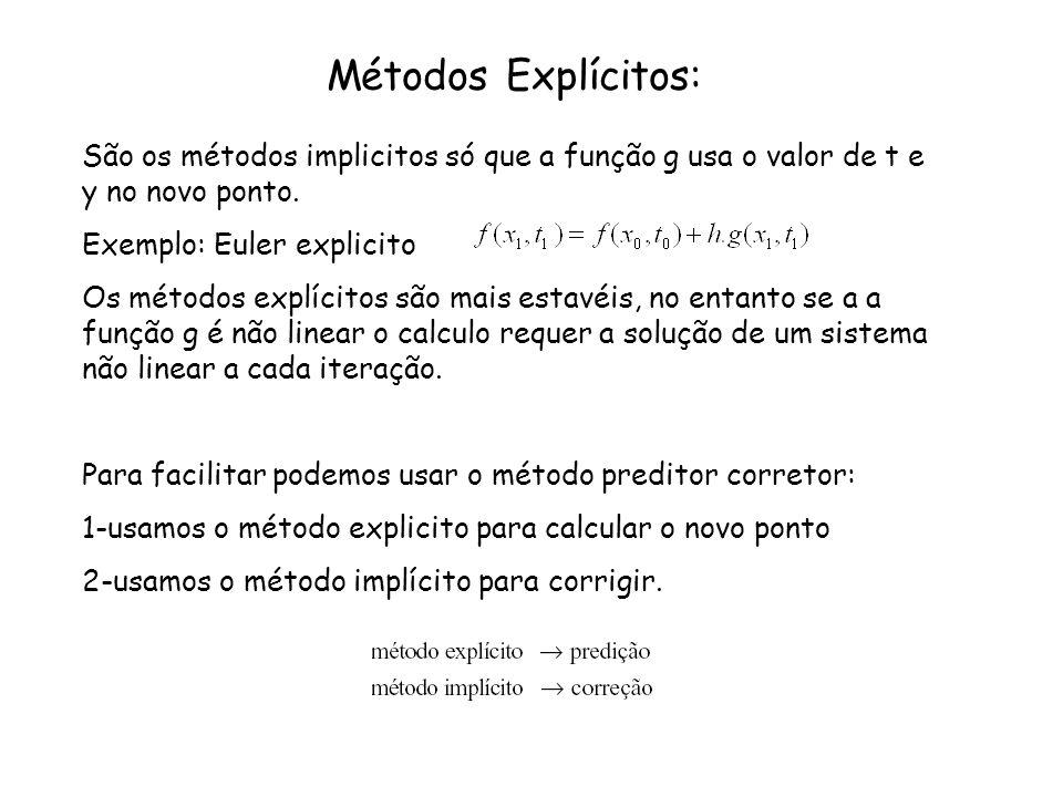 Métodos Explícitos: São os métodos implicitos só que a função g usa o valor de t e y no novo ponto. Exemplo: Euler explicito Os métodos explícitos são