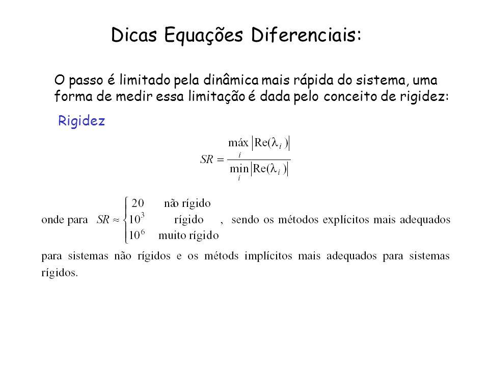 Dicas Equações Diferenciais: O passo é limitado pela dinâmica mais rápida do sistema, uma forma de medir essa limitação é dada pelo conceito de rigide