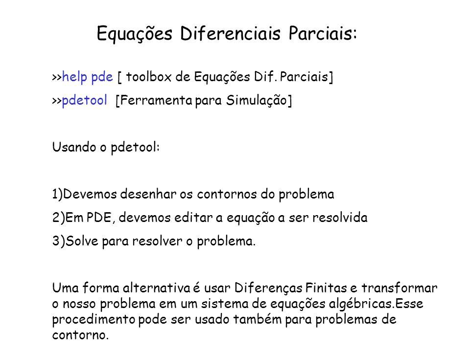 Equações Diferenciais Parciais: >>help pde [ toolbox de Equações Dif. Parciais] >>pdetool [Ferramenta para Simulação] Usando o pdetool: 1)Devemos dese