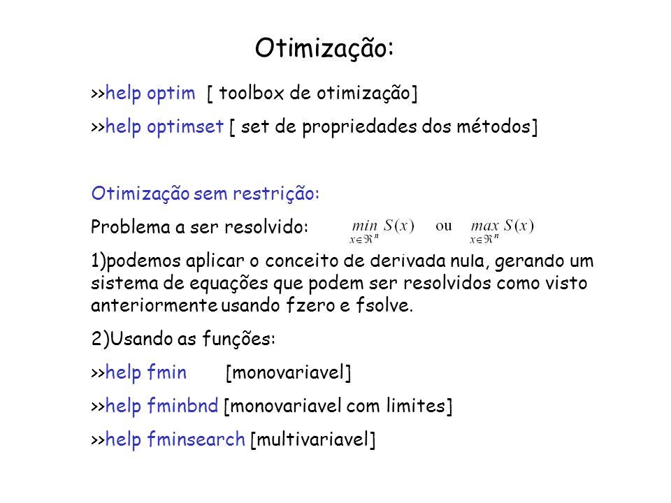 Otimização: >>help optim [ toolbox de otimização] >>help optimset [ set de propriedades dos métodos] Otimização sem restrição: Problema a ser resolvid