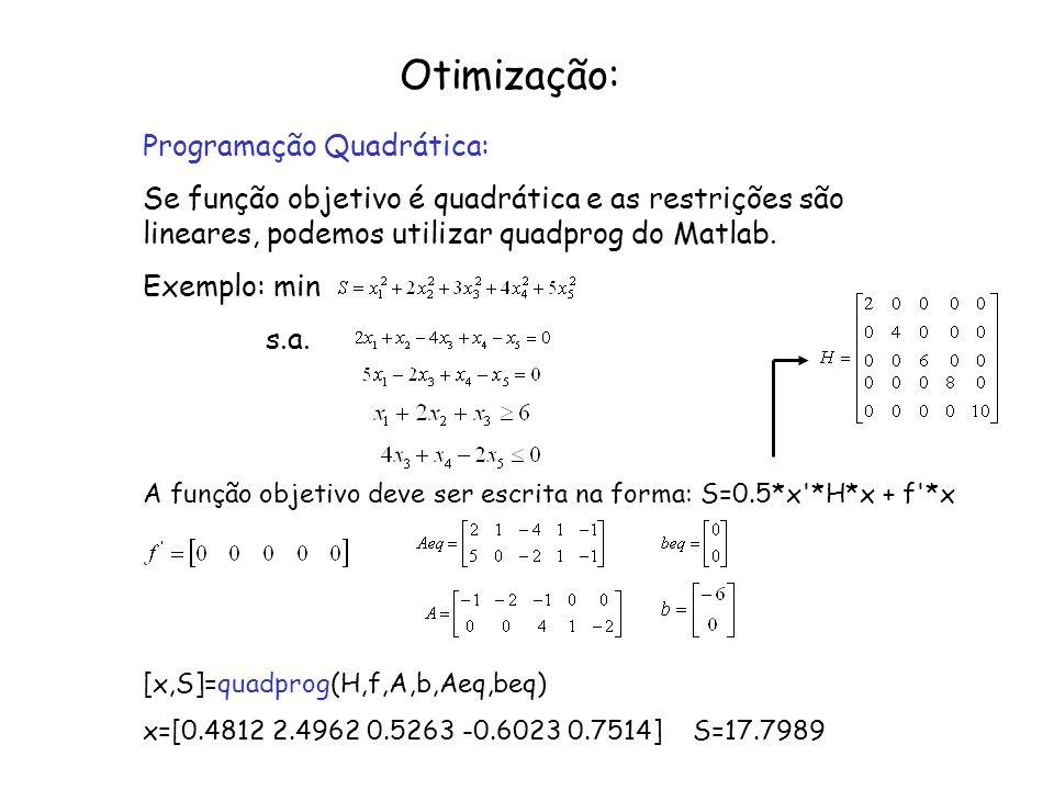 Otimização: Programação Quadrática: Se função objetivo é quadrática e as restrições são lineares, podemos utilizar quadprog do Matlab. Exemplo: min s.