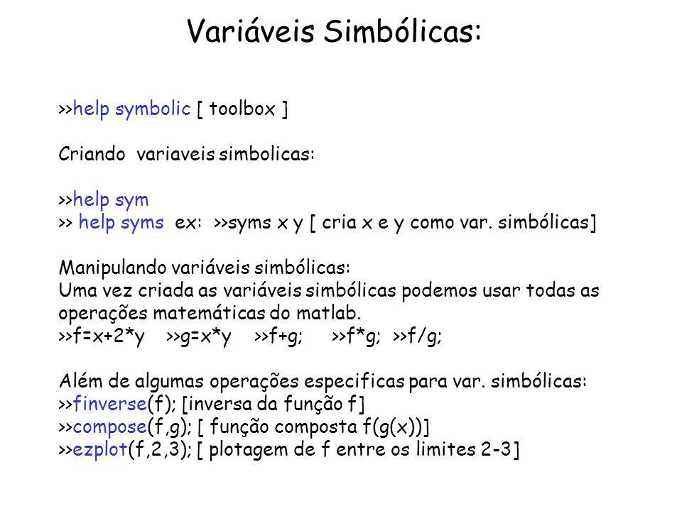 Variáveis Simbólicas: >>help symbolic [ toolbox ] Criando variaveis simbolicas: >>help sym >> help syms ex: >>syms x y [ cria x e y como var. simbólic