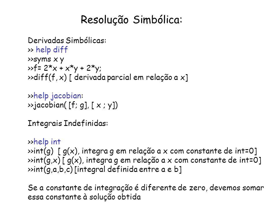 Resolução Simbólica: Derivadas Simbólicas: >> help diff >>syms x y >>f= 2*x + x*y + 2*y; >>diff(f, x) [ derivada parcial em relação a x] >>help jacobi