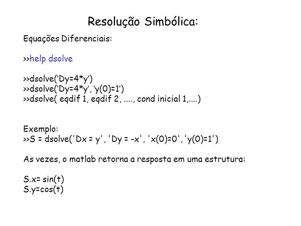Resolução Simbólica: Equações Diferenciais: >>help dsolve >>dsolve(Dy=4*y) >>dsolve(Dy=4*y, y(0)=1) >>dsolve( eqdif 1, eqdif 2,...., cond inicial 1,..
