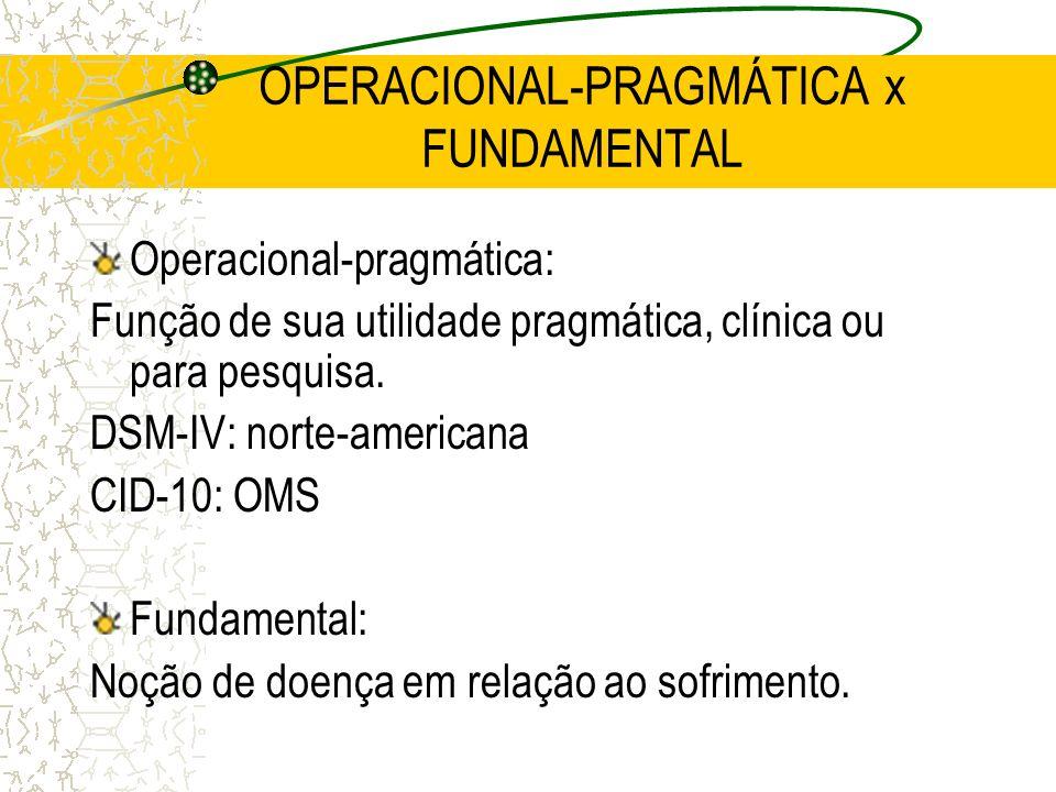 OPERACIONAL-PRAGMÁTICA x FUNDAMENTAL Operacional-pragmática: Função de sua utilidade pragmática, clínica ou para pesquisa. DSM-IV: norte-americana CID