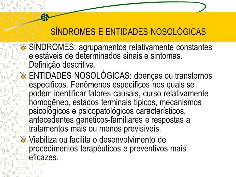 SÍNDROMES E ENTIDADES NOSOLÓGICAS SÍNDROMES: agrupamentos relativamente constantes e estáveis de determinados sinais e sintomas. Definição descritiva.
