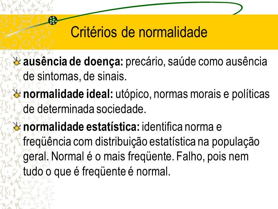 Critérios de normalidade ausência de doença: precário, saúde como ausência de sintomas, de sinais. normalidade ideal: utópico, normas morais e polític