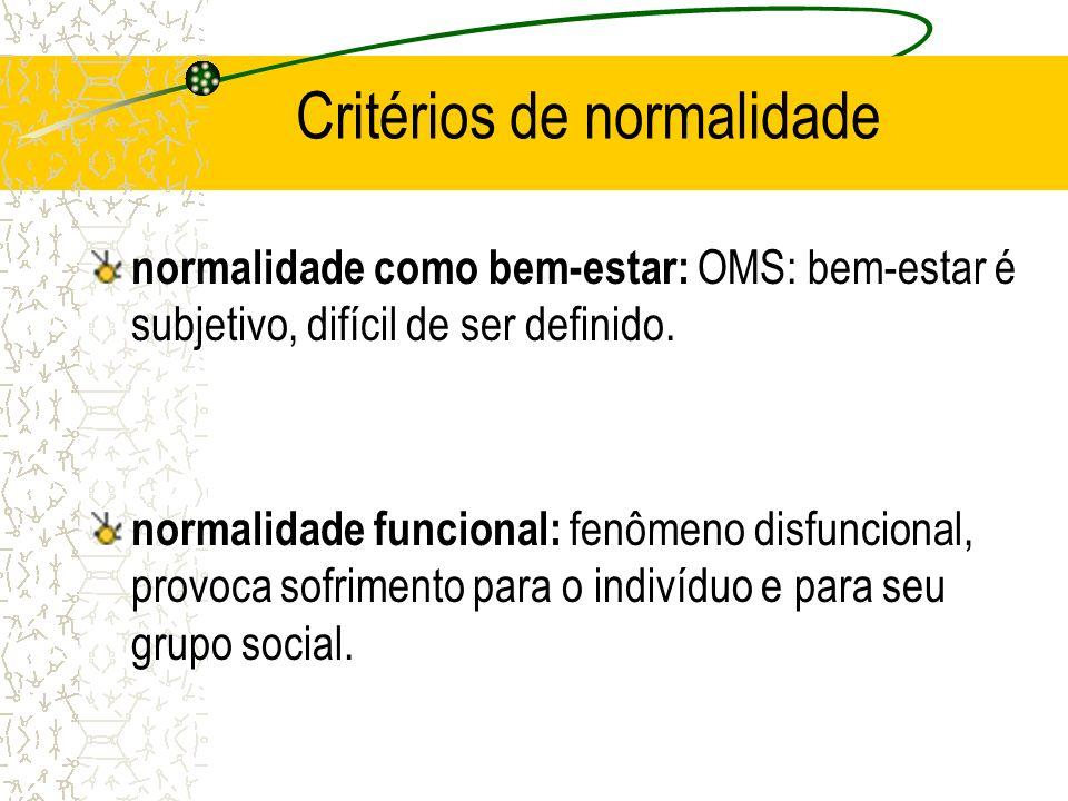 Critérios de normalidade normalidade como bem-estar: OMS: bem-estar é subjetivo, difícil de ser definido. normalidade funcional: fenômeno disfuncional