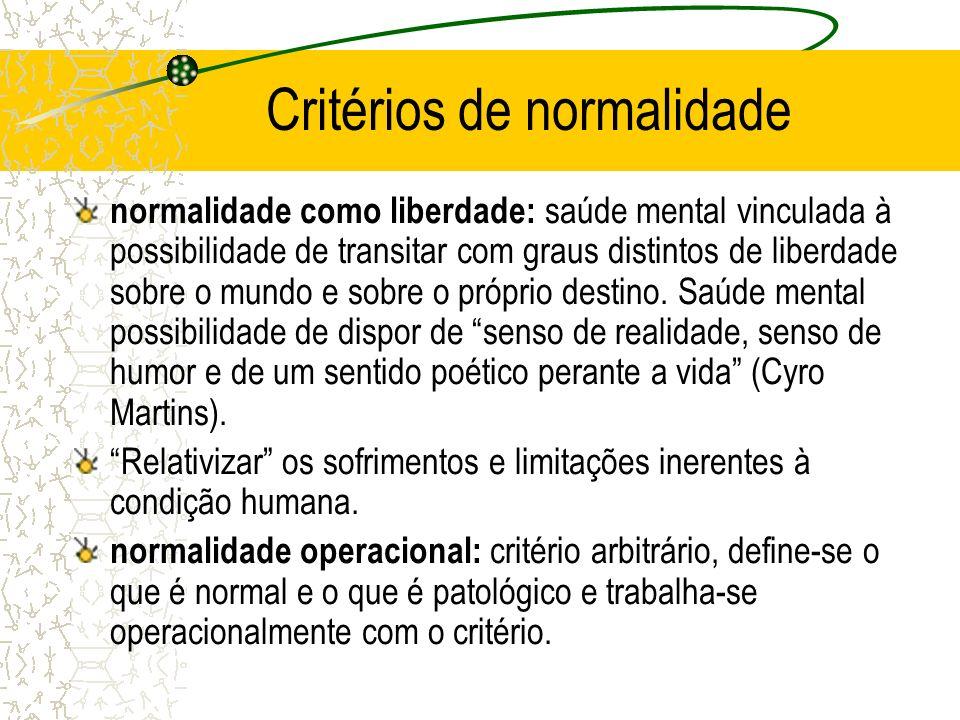 Critérios de normalidade normalidade como liberdade: saúde mental vinculada à possibilidade de transitar com graus distintos de liberdade sobre o mund
