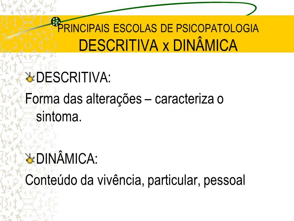 PRINCIPAIS ESCOLAS DE PSICOPATOLOGIA DESCRITIVA x DINÂMICA DESCRITIVA: Forma das alterações – caracteriza o sintoma. DINÂMICA: Conteúdo da vivência, p