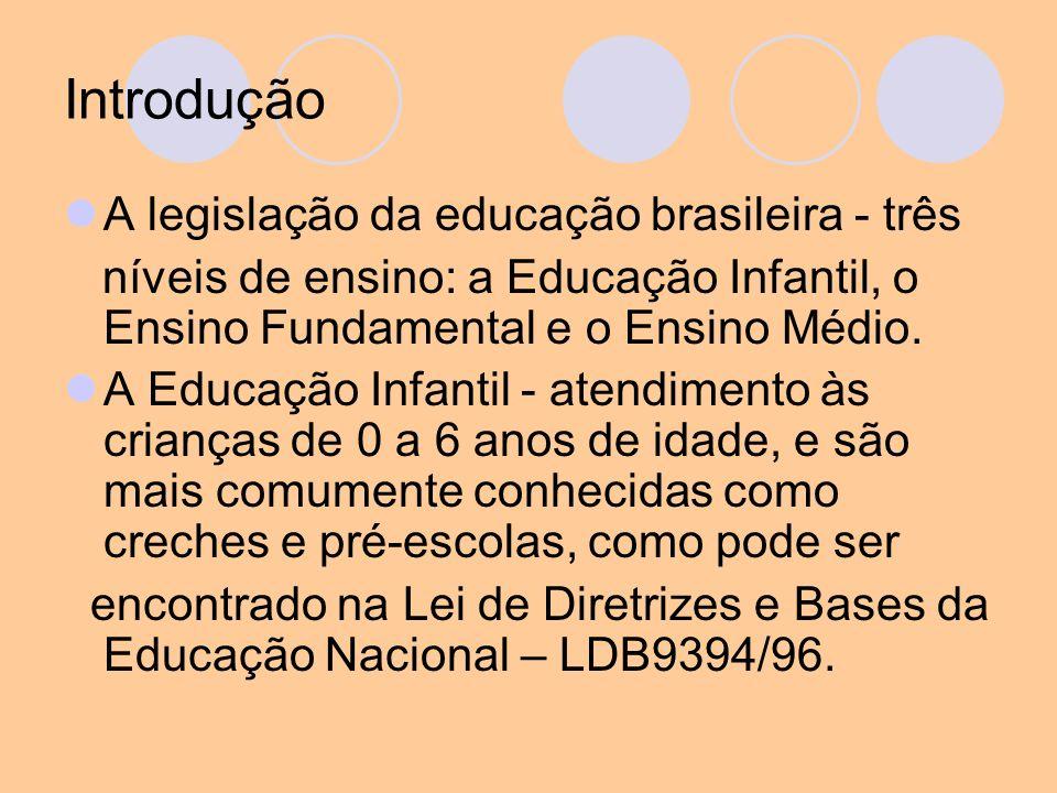 Introdução A legislação da educação brasileira - três níveis de ensino: a Educação Infantil, o Ensino Fundamental e o Ensino Médio. A Educação Infanti