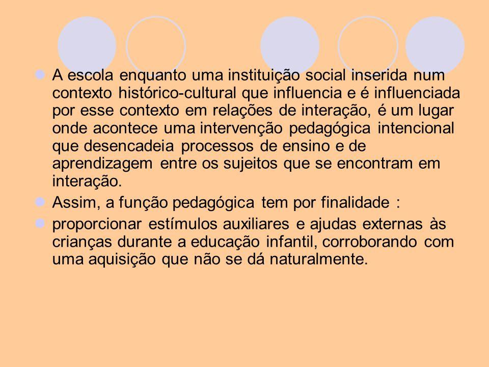 A escola enquanto uma instituição social inserida num contexto histórico-cultural que influencia e é influenciada por esse contexto em relações de int