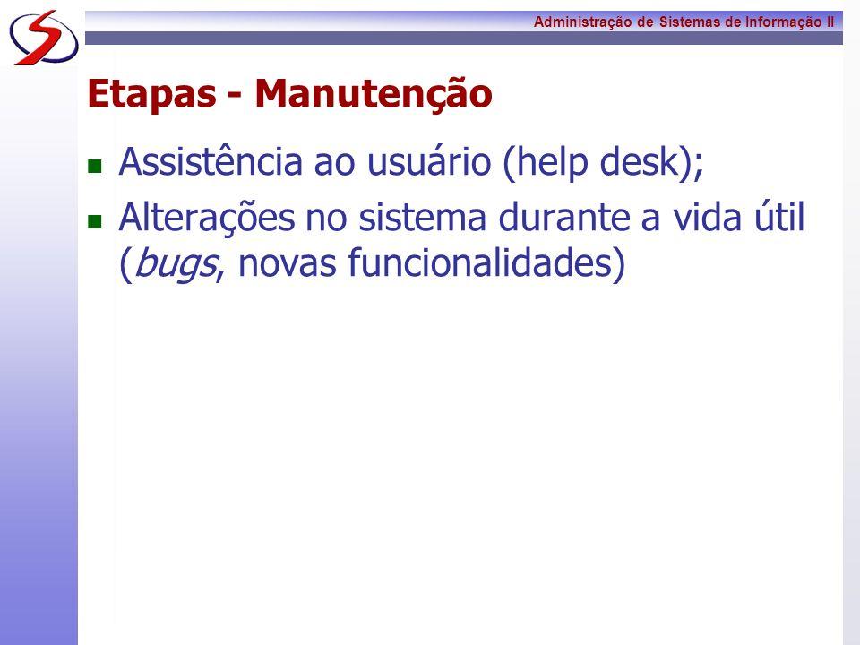 Administração de Sistemas de Informação II Etapas - Manutenção Assistência ao usuário (help desk); Alterações no sistema durante a vida útil (bugs, no