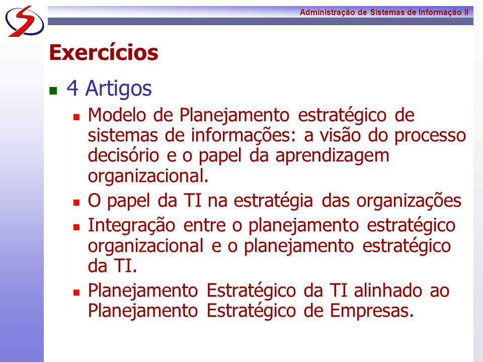 Administração de Sistemas de Informação II Exercícios 4 Artigos Modelo de Planejamento estratégico de sistemas de informações: a visão do processo dec
