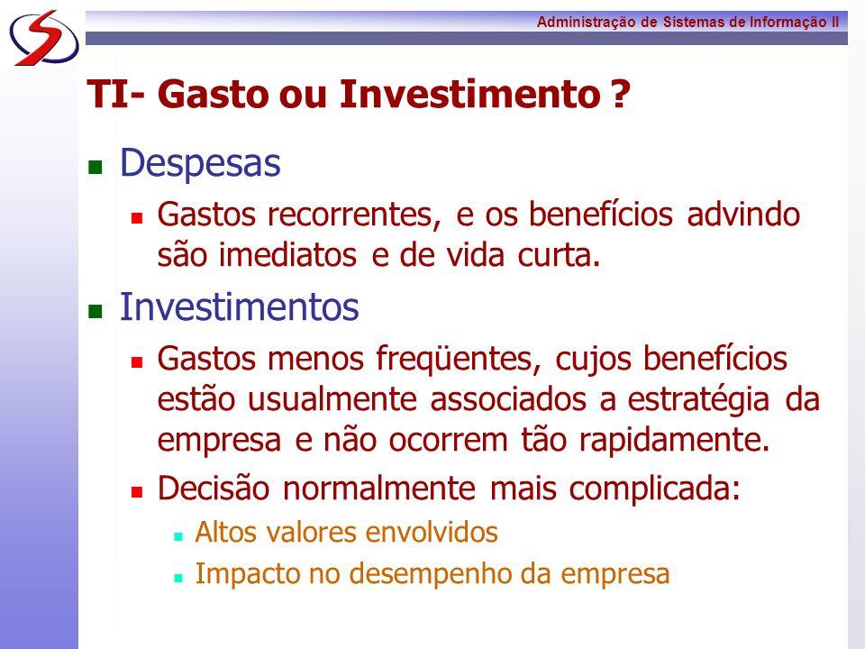 Administração de Sistemas de Informação II TI- Gasto ou Investimento ? Despesas Gastos recorrentes, e os benefícios advindo são imediatos e de vida cu
