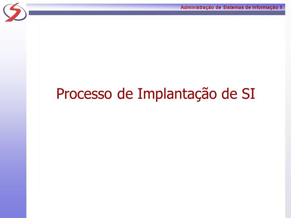 Administração de Sistemas de Informação II O Processo de Implantação de SI Complexo, complicado e arriscado Analogia: substituição das turbinas de um avião em pleno vôo.
