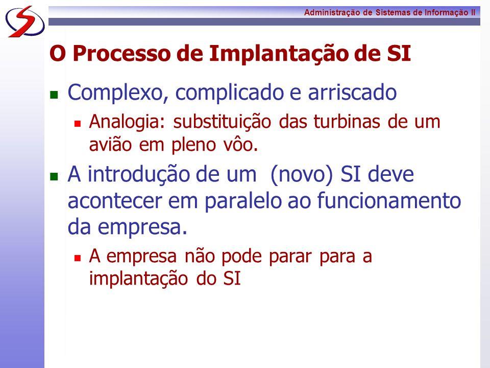 Administração de Sistemas de Informação II O Processo de Implantação de SI Complexo, complicado e arriscado Analogia: substituição das turbinas de um