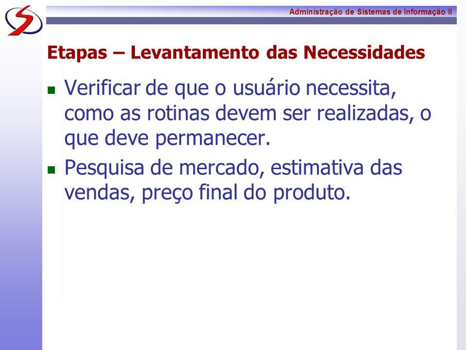 Administração de Sistemas de Informação II Etapas – Levantamento das Necessidades Verificar de que o usuário necessita, como as rotinas devem ser real