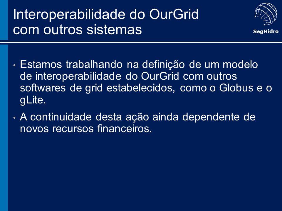 SegHidro Interoperabilidade do OurGrid com outros sistemas Estamos trabalhando na definição de um modelo de interoperabilidade do OurGrid com outros s