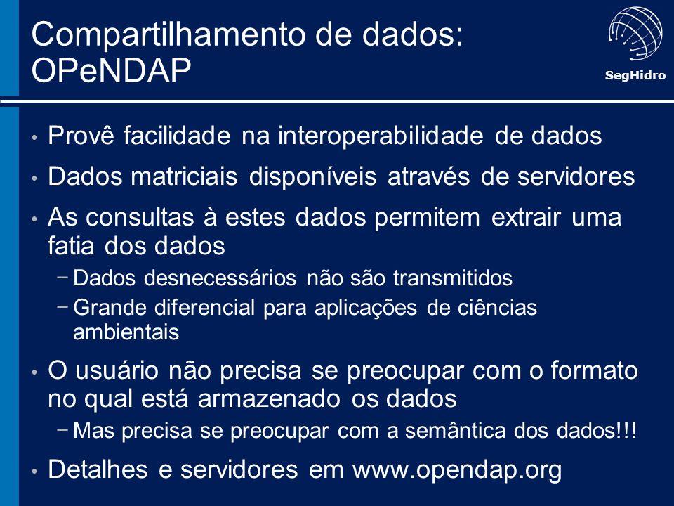 SegHidro Compartilhamento de dados: OPeNDAP Provê facilidade na interoperabilidade de dados Dados matriciais disponíveis através de servidores As cons