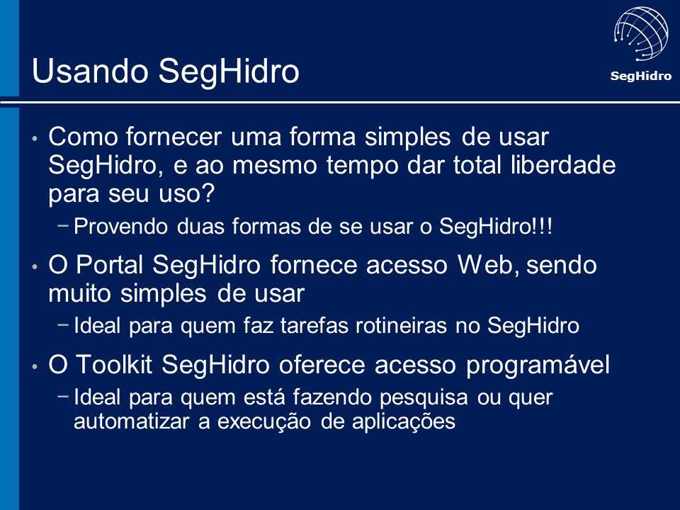 SegHidro Usando SegHidro Como fornecer uma forma simples de usar SegHidro, e ao mesmo tempo dar total liberdade para seu uso? Provendo duas formas de