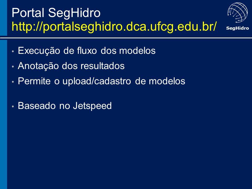 SegHidro Portal SegHidro http://portalseghidro.dca.ufcg.edu.br/ Execução de fluxo dos modelos Anotação dos resultados Permite o upload/cadastro de mod