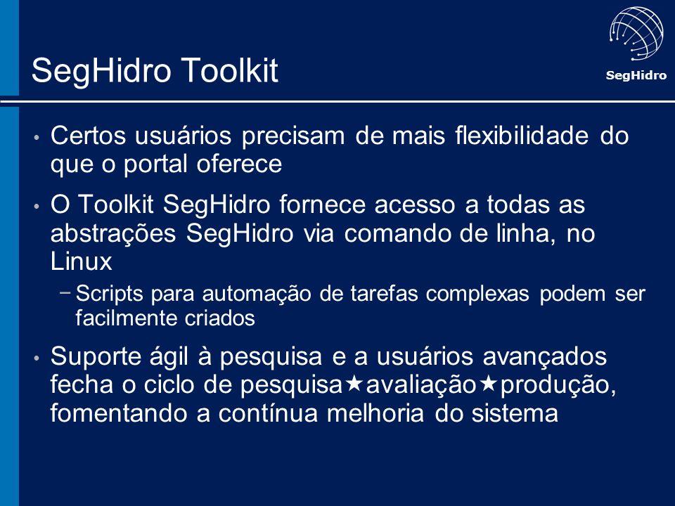 SegHidro SegHidro Toolkit Certos usuários precisam de mais flexibilidade do que o portal oferece O Toolkit SegHidro fornece acesso a todas as abstraçõ