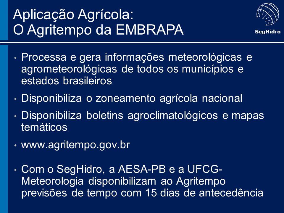 SegHidro Processa e gera informações meteorológicas e agrometeorológicas de todos os municípios e estados brasileiros Disponibiliza o zoneamento agríc