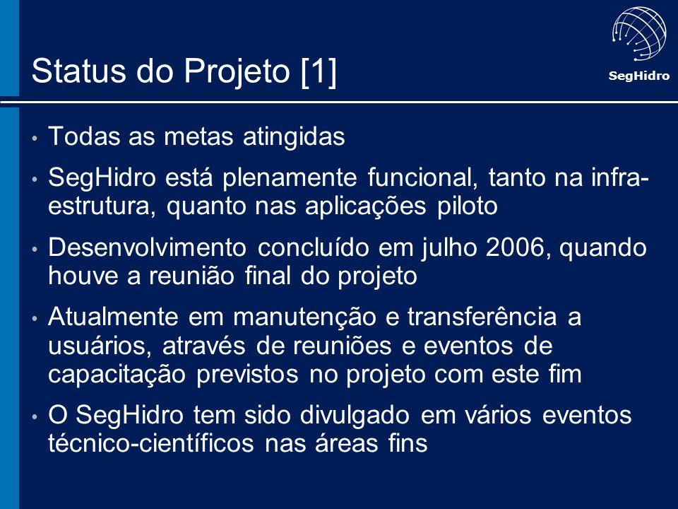 SegHidro Status do Projeto [1] Todas as metas atingidas SegHidro está plenamente funcional, tanto na infra- estrutura, quanto nas aplicações piloto De