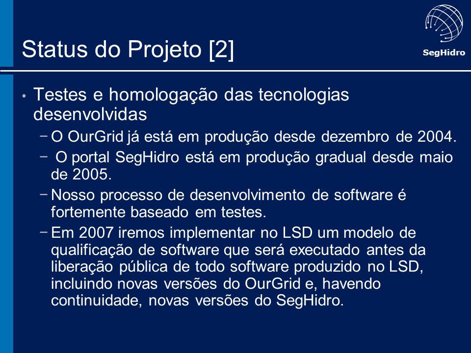 SegHidro Status do Projeto [2] Testes e homologação das tecnologias desenvolvidas O OurGrid já está em produção desde dezembro de 2004. O portal SegHi
