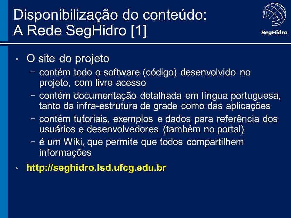 SegHidro Disponibilização do conteúdo: A Rede SegHidro [1] O site do projeto contém todo o software (código) desenvolvido no projeto, com livre acesso