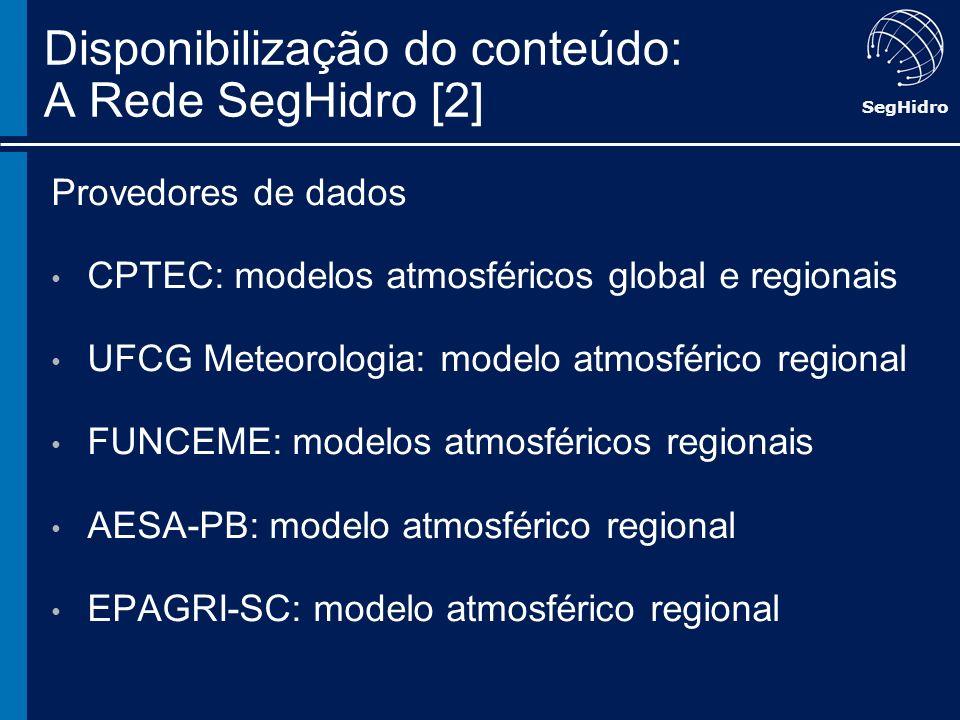 SegHidro Provedores de dados CPTEC: modelos atmosféricos global e regionais UFCG Meteorologia: modelo atmosférico regional FUNCEME: modelos atmosféric