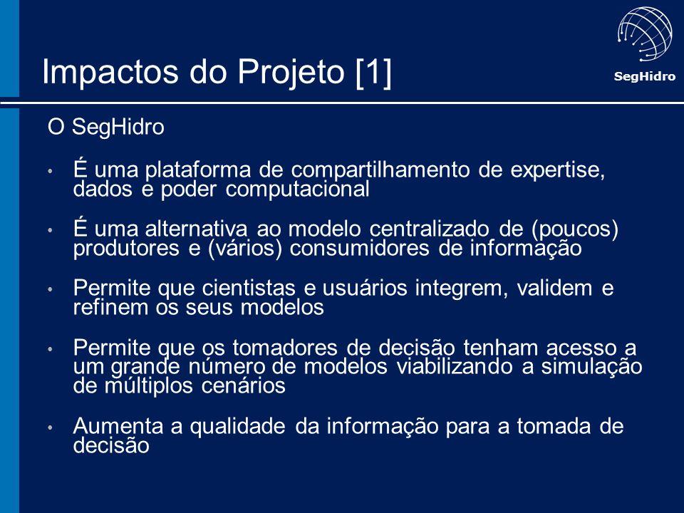 SegHidro Impactos do Projeto [1] O SegHidro É uma plataforma de compartilhamento de expertise, dados e poder computacional É uma alternativa ao modelo