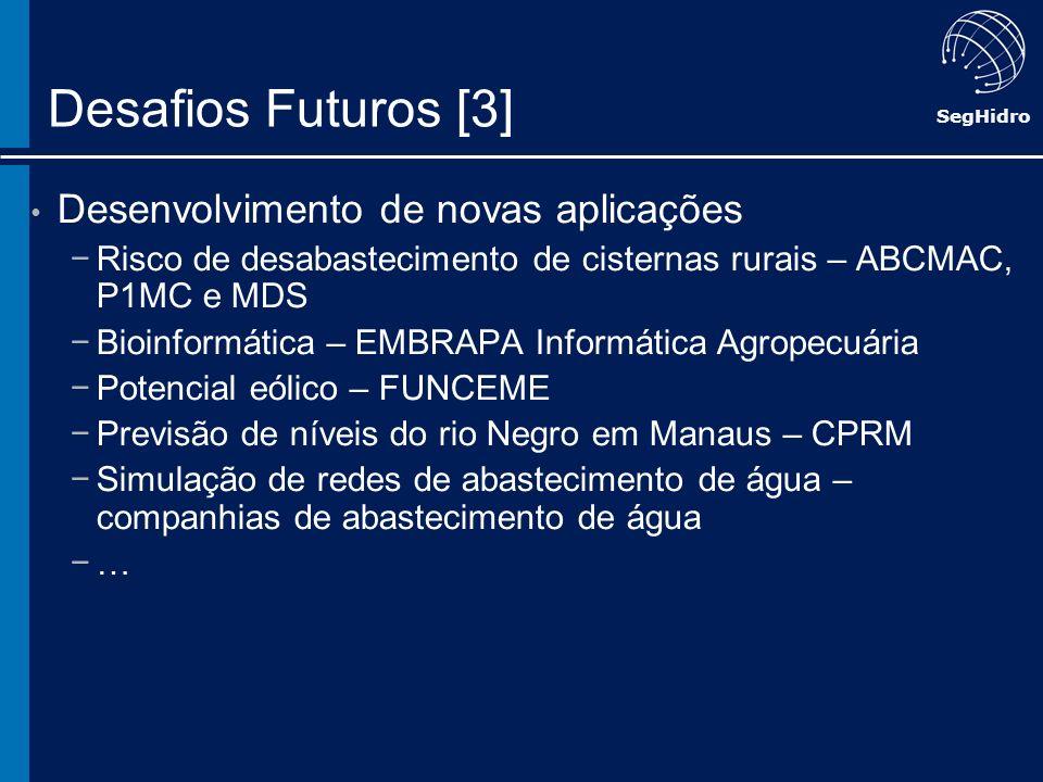 SegHidro Desafios Futuros [3] Desenvolvimento de novas aplicações Risco de desabastecimento de cisternas rurais – ABCMAC, P1MC e MDS Bioinformática –