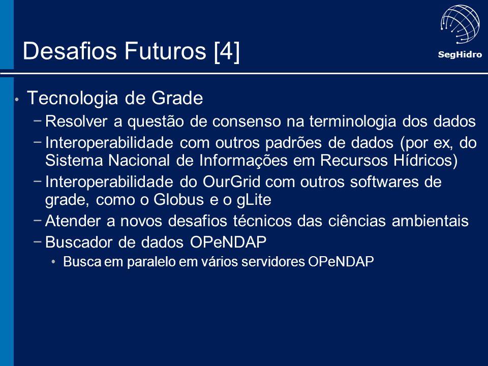 SegHidro Desafios Futuros [4] Tecnologia de Grade Resolver a questão de consenso na terminologia dos dados Interoperabilidade com outros padrões de da