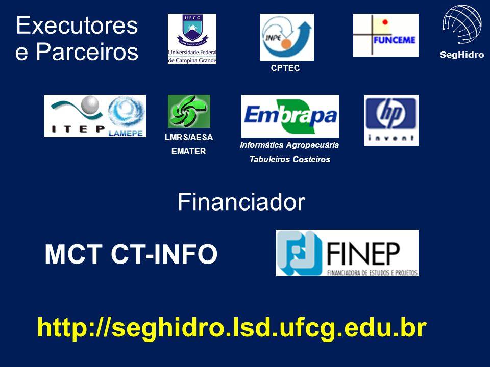 SegHidro Executores e Parceiros Financiador LMRS/AESA EMATER Informática Agropecuária Tabuleiros Costeiros MCT CT-INFO CPTEC http://seghidro.lsd.ufcg.