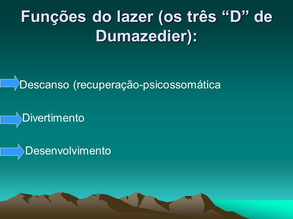 Funções do lazer (os três D de Dumazedier): Descanso (recuperação-psicossomática Divertimento Desenvolvimento
